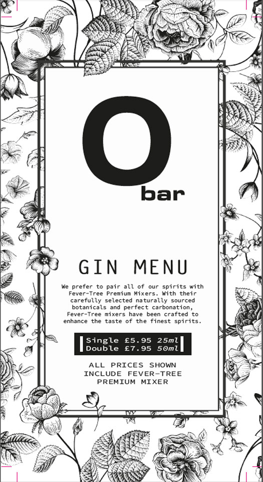 O Bar Packages | Gin Menu